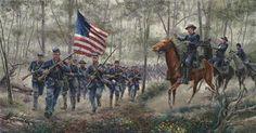 Rush to the Summit. Col. Joshua Chamberlain. Battle of Getysburg. Civil War print by premier artist Mort Kunstler.