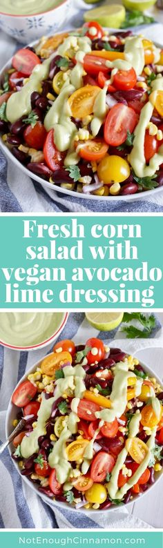 The perfect vegan and vegetarian salad to feed a crowd this summer! And this avocado lime dressing is so good!! Perfect for meatless monday too! Click to see the recipe on NotEnoughCinnamon.com