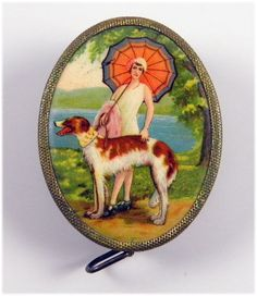 Vintage Celluloid Sewing Tape Measure Lady With Parasol Walking A Dog