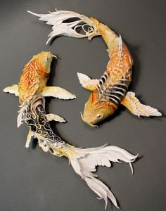 Kubie's NSFW Fruity Rumpus Asshole Factory — whimsebox: Koi fish by Creatures of El on Etsy Art Koi, Fish Art, Origami Koi Fish, Koi Kunst, Art Actuel, Fish Sculpture, O Pokemon, Clay Animals, Animal Sculptures