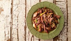 Shredded Goose with Lemon, braised, shredded goose or duck served with lots of lemon and sherry. Recipe from Hunter Angler Gardener Cook.