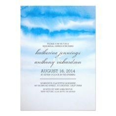 """ombre blue watercolor rehearsal dinner invites 5"""" x 7"""" invitation card"""