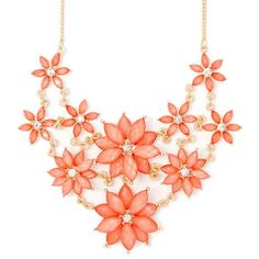 Coral Glitter Stone Marquis Flowers Statement Necklace ($19) ❤ liked on Polyvore featuring jewelry, necklaces, accessories, coral jewelry, flower jewellery, multi layer necklace, flower statement necklace and bib statement necklace