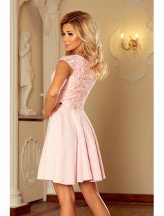 6f2c02cf06 Zmysłowa rozkloszowana sukienka MARTA z koronką w kolorze pastelowy róż