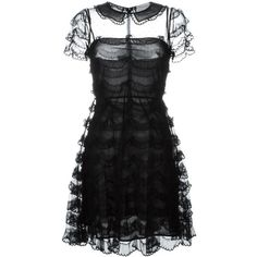 Red Valentino scalloped lace dress ($1,185) ❤ liked on Polyvore featuring dresses, black, lace dress, red valentino dress, red valentino, kohl dresses and black lace cocktail dress