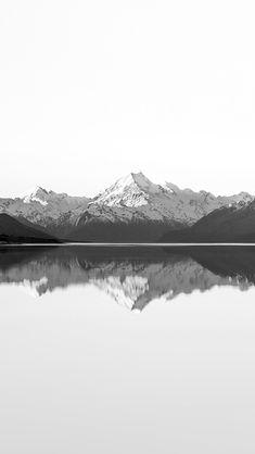 Reflection Lake Blue Mountain Water River Bw White #iPhone #5s #wallpaper