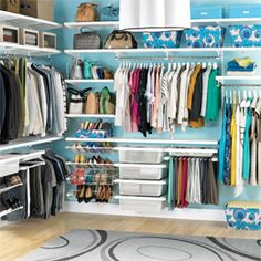 Shoe Organizing Systems- I love the pull out shoe system that elfa has. But the cheap items work too. The Container Store > White elfa décor His & Hers Closet Master Closet, Closet Bedroom, Walk In Closet, Closet Space, Huge Closet, Closet Wall, Tiny Closet, Bathroom Closet, Bathroom Interior
