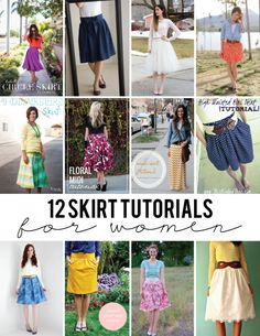 Sewing Skirts 12 Skirt Tutorials for Women - seven thirty three - 12 FREE Skirt Tutorials for Women - most are easy to sew and will make a gorgeous addition to your wardrobe! Diy Clothing, Sewing Clothes, Clothing Patterns, Sewing Patterns, Skirt Patterns, Sewing Men, Coat Patterns, Men Clothes, Blouse Patterns