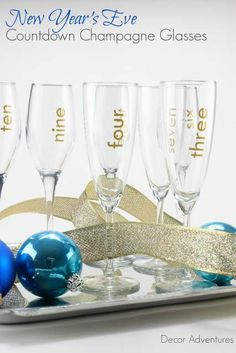 Bring on the bubbly with these New Years Eve countdown champagne glasses made with a Silhouette. Cheers!