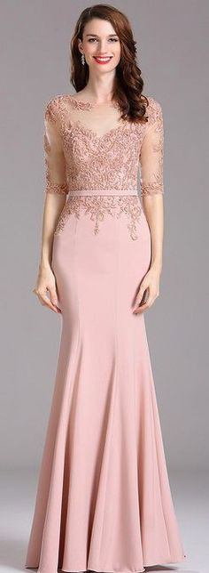 Carlyna Blush Illusion Beaded Applique Formal Dress with Sweetheart Carlyna Blush Illusion – Formelles Kleid mit Perlenapplikation und Schatz Trendy Dresses, Elegant Dresses, Nice Dresses, Fashion Dresses, Formal Dresses, Long Dress Formal Elegant, Dress Brokat, Kebaya Dress, Kebaya Brokat