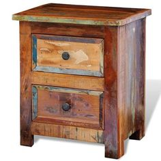 vidaXL Nachtkastje met 2 lades massief gerecycled hout Acacia, Reclaimed Wood Nightstand, Teak, Timber Beds, Bedside Cabinet, Vintage Stil, Rustic Feel, Furniture Making, Solid Wood