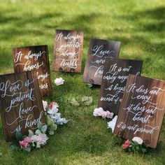 Set of 10 Wedding Aisle Signs 1 Corinthians 13 Wedding Signs | Etsy Wooden Wedding Signs, Wedding Signage, Rustic Wedding, Wedding In The Woods, Our Wedding, Wedding Dress, Love Does Not Boast, Wedding Aisle Decorations, Wedding Favours