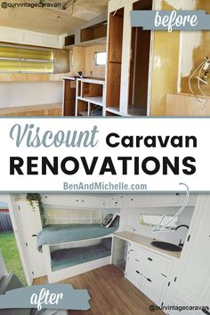 Do you love yourself a vintage caravan renovation? We've put together a selection of amazing vintage Viscount caravans that have been transformed with beautiful interior decor, innovative layouts and comfortable upgrades. See these Viscount renovations on the blog! Renovated viscount caravan | Renovated vintage caravan | #Viscountcaravan Diy Caravan, Retro Caravan, Vintage Caravan Interiors, Vintage Caravans, Glamping, Caravan Renovation Before And After, Caravan Interior Makeover, Viscount Caravan, Camper