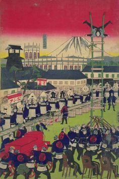 Hikeshi (firefighters), entertaining foreign dignitaries, 1876, Author:Utagawa Hiroshige.