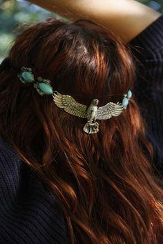 ☮ American Hippie Bohemian Style ~ Boho Jewelry . . Silver Turquoise Eagle Headband!!