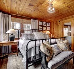 Mountain Bedroom, Cottage Curtains, Master Room, Living Spaces, Living Room, North Beach, Bedroom Green, Barndominium, Cabin Fever