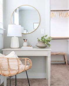 A neutral guest bedroom in soft tones and organic coastal textures. This desk nook doubles as a vanity where guests can get ready. Guest Room Decor, Guest Room Office, Bedroom Decor, Bedroom Inspo, Master Bedroom, Desk Nook, Small Guest Rooms, Desk Areas, Interior Design