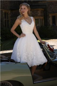 White ivory tea length short wedding dress bridal by lucksell, $179.00