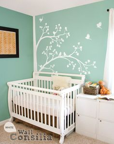 Tree Wall Decal Nursery Decor White By Wallconsilia