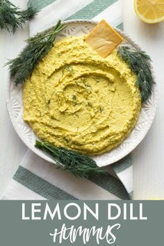 Lemon Dill Hummus: Oil free vegan hummus with fresh lemon juice and dill, perfect for warm weather potlucks and barbecues! #vegan #lemon #glutenfree #hummus