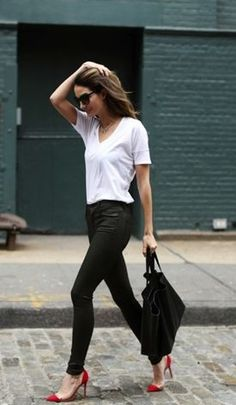 White tee, black jeans, red shoes