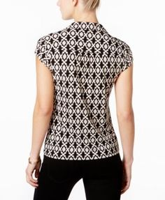 Charter Club Print Polo Top, Only at Macy's - Black XL