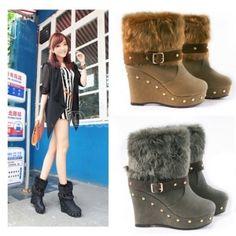 $9.50Women's Platform wedges High Heel Snow Winter Boots Ankle Boots