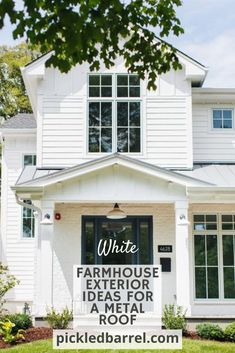 Modern farmhouse exterior ideas are what you're looking for? You've come to the right place! #pickledbarrelblog #modernfarmhouseideas #whiteexterior Farmhouse Exterior Colors, Modern Farmhouse Porch, Modern Farmhouse Design, Farmhouse Front, Farm House Colors, Painted Front Doors, Metal Roof, Ideas, Joanna Gaines