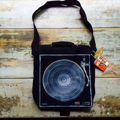 "Deadstock Vintage Black Record Player // Turn Table Messenger Bag // Laptop Bag + 12"" x 9Copy on Etsy, $59.45"