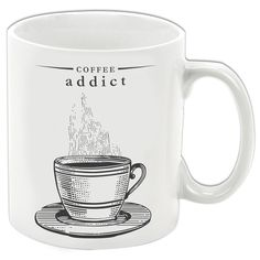 Are they a little too fond of the caffeine kick? Our Coffee Addict Mug will make a splendid gift. £7.99 #mugs #kitchengifts #coffeelover #coffee #coffeeaddict #gifting #gifts