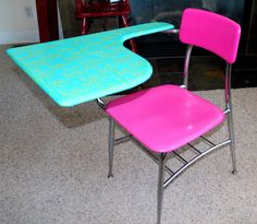 Hot Pink & Turquoise Refurbished Old School by Laurasoriginals2 A desk like this would have made high school so much more fun..