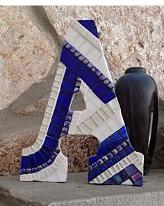 Royal Blue Mosaic Initial, Decorative Mosaic Wall Letter, Mosaic Art Keepsake, Custom Monogram, Baby Boy Gift, Royal Blue Home Nursery Decor