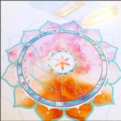 Custom Watercolor Birth Chart  : Astrology, Mandala, Sacred Geometry, Flower of life, Present, Birthday, Marriage