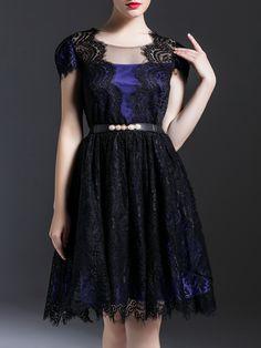 Shop Black Sheer Belted Lace A-Line Dress online. SheIn offers Black Sheer…