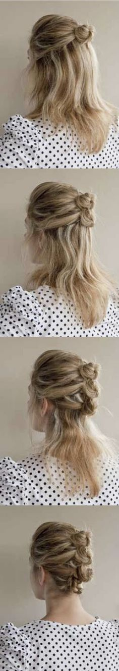 Taking a section from each side of your hairline and bring together into a twist at the back of your head.  Twist the section around your finger and pin into a small bun  Repeat steps 2 & 3 until all your hair is twisted and pinned into a line.