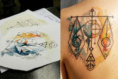 Libra scales geometric watercolor tattoo