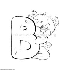 Teddy Bear Alphabet Letter B Coloring Pages Letter B Coloring Pages, Free Coloring Pages, Coloring Books, Coloring Sheets, Tatty Teddy, Alfabeto Animal, Alphabet Templates, Blue Nose Friends, Animal Alphabet