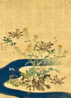 Detail. 酒井抱一 Sakai Hōitsu (1761-1828), 流水四季草花図屏風. Plants and flowers of the four seasons and flowing water. Pair of two-panel folding screens. Japan. Edo period. Rinpa School. Tokyo National Museum.