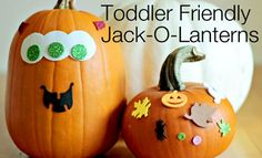 Foam sticker pumpkins- No-Carve Pumpkin Decorating Ideas for Kids I Halloween Crafts for Kids - ParentMap