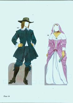 American Family Paper Dolls of the Pilgrim Period by Tom Tierney - Dover Publications, Inc.,1987: Plate 14 (of 15)