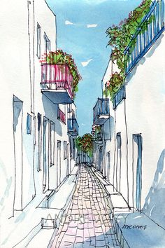 Mykonos Small Street Greece art print from an original watercolor painting