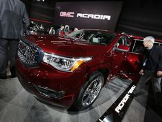 The 2017 GMC Acadia Denali is introduced during the 2016 North American International Auto Show held at Cobo Center in downtown Detroit on Tuesday, Jan. Gmc Acadia 2017, Acadia Denali, Detroit Auto Show, General Motors, Motorbikes, Dream Cars, Tuesday, Sporty, American