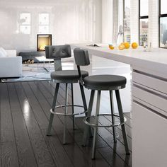 Amisco Tower Grey Bar and Counter Stool