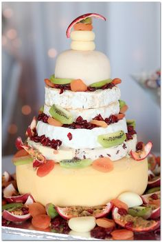 Steps To A Perfect Cheese Wheel Wedding Cake ★ wedding cheese wheel cake 17 Diy Wedding Cake, Beautiful Wedding Cakes, Wedding Cake Designs, Beautiful Cakes, Wedding Stuff, Wedding Decor, Mexican Sour Cream, Cheese Tower, Wheel Cake