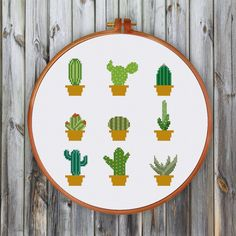 Mini Cactus cross stitch pattern Modern cute cactus por ThuHaDesign