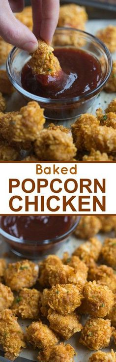 This Baked Popcorn Chicken is crispy on the outside, juicy on the inside.  Serve it with your favorite BBQ sauce and your kids will be in heaven!