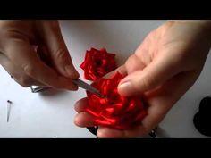 Como fazer rosa de fita 2 - YouTube