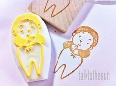 for the boy/girl who lost his/her first tooth.  tooth fairy hand carved rubber stamp by talktothesun