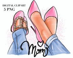 Mom Clipart, Baby Girl Clipart, Summer Clipart, Mother's Day Clip Art, Baby Clip Art, Mother Son, Mother Daughters, Fashion Clipart, Super Mom