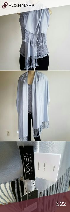 Jones New York scarf NWT long oblong scarf in silver gray.  21 inch X 74 inch. Wear long or wrap as an infinity cowl neck. Jones New York Accessories Scarves & Wraps